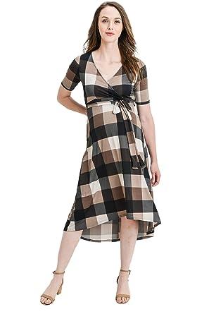 3ac0ad92c45 Hello MIZ Women s High-Low Surplice Wrap Maternity Dress with Waist Belt  (Brown Plaid