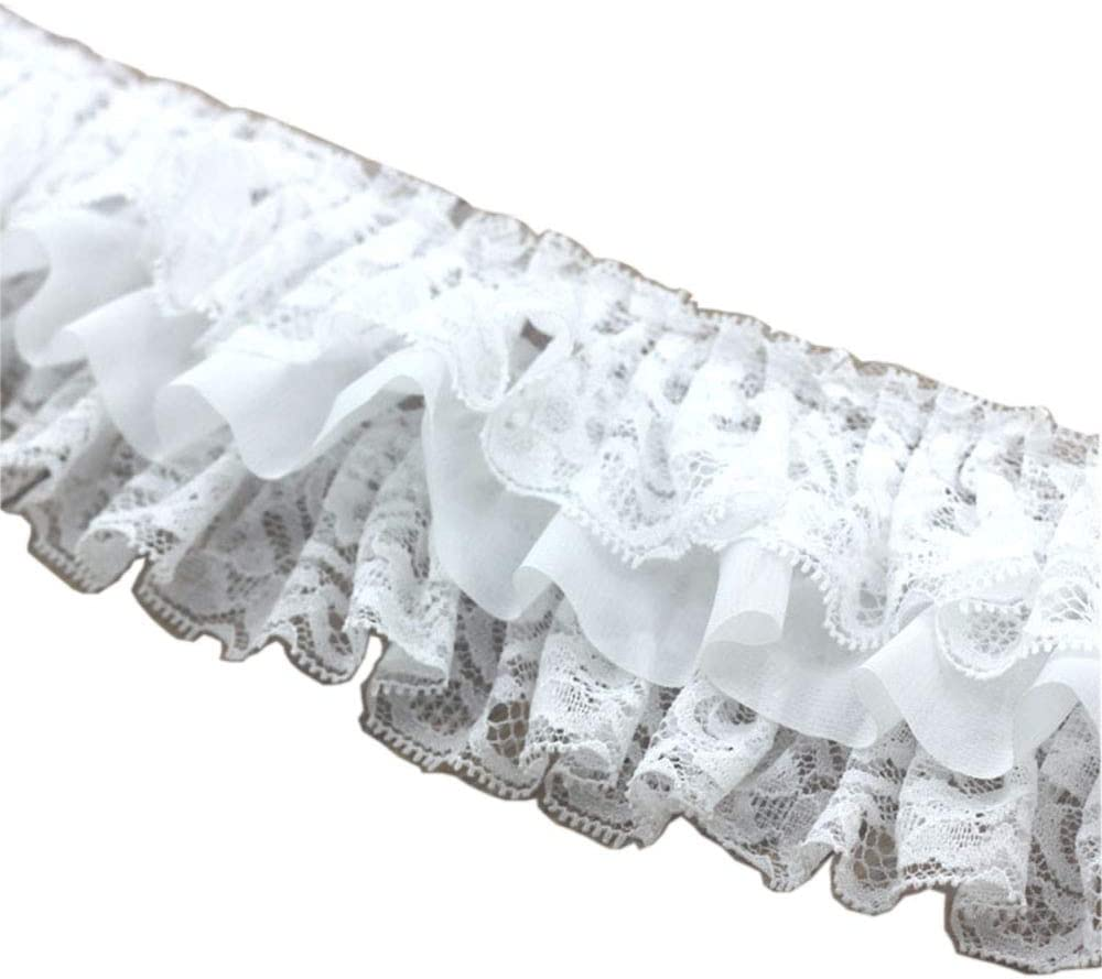 Satin  Ruffle Lace Trim 3//4 inch wide royal blue //white  selling by the yard
