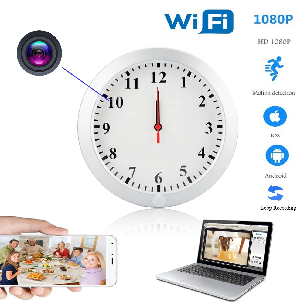 YCTONG WIFI Wall Clock Hidden Spy Camera HD 1080P Wireless Home Security Camera Motion Detection Alarm Video Recorder Surveillance Camcorder for House Office Pet Nanny Cam Support IOS/Android/PC