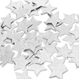 "Aonor 2 Packs Glitter Star Confetti for Table Decor, Baby Shower, Birthday Party Decorations, Silver, 1.2"" in Diameter, Total 400pcs"