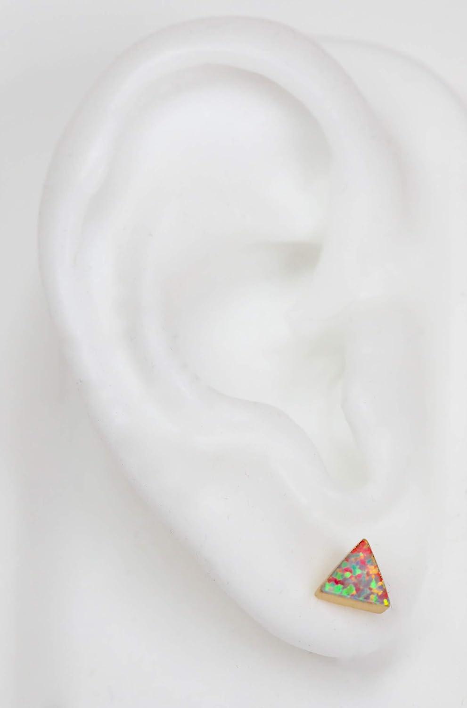 Aqua Blue Pink Triangle Opal Stud Earring 6mm