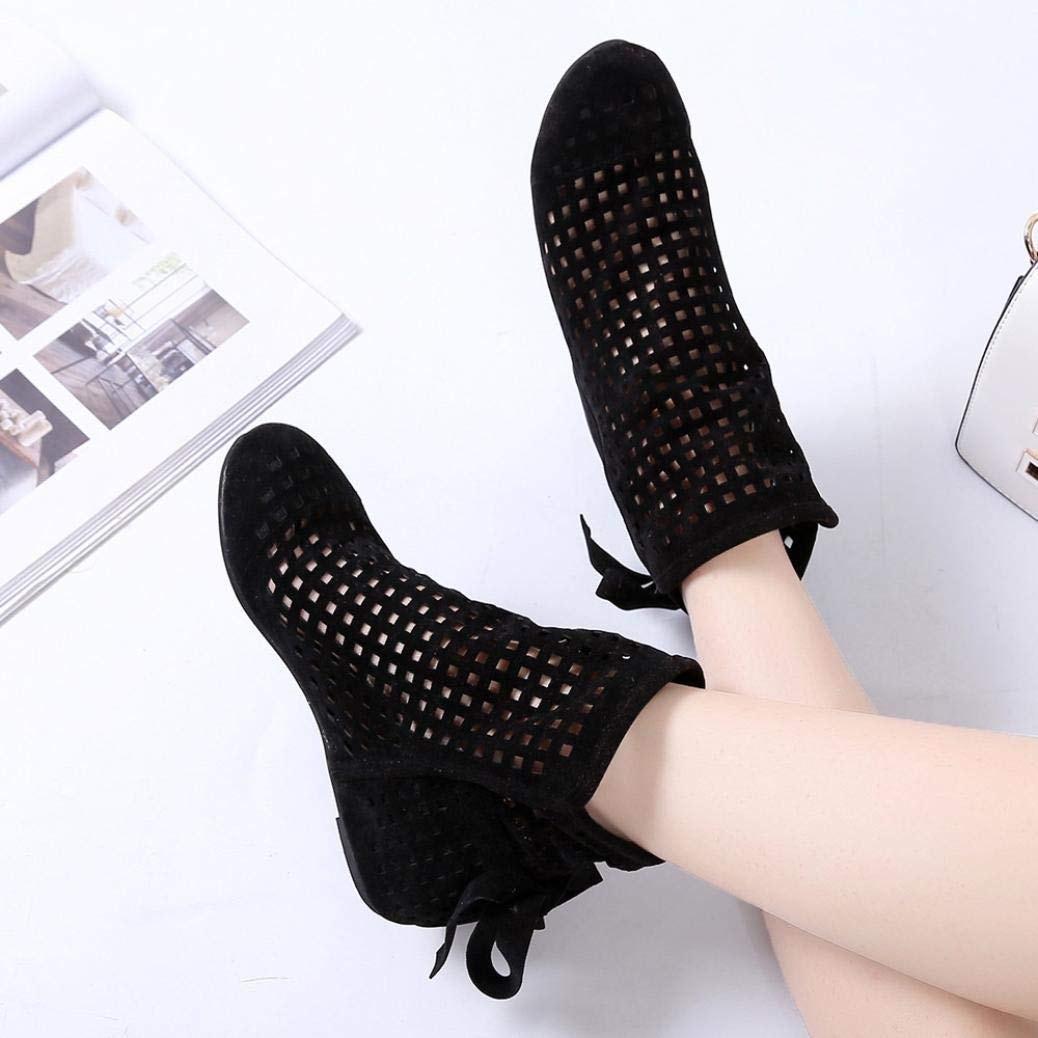 Gyoume Sandals Hollow Out Ankle Boots Shoes Women Flat Wedges Boots Girls Cute Booties Dress Shoes by Gyoume (Image #5)