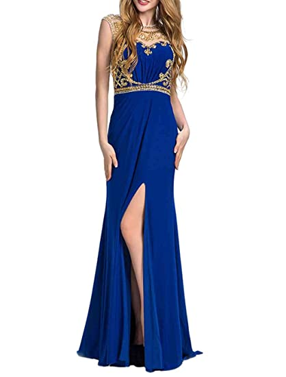 Blue Prom Dress with Beading A Line Scoop Neck Floor Length Evening Dress