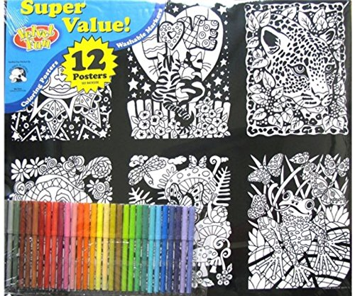 Velvet Fun Coloring Art 12 Pack with Markers ~ Love is All (Fuzzy Kitten)