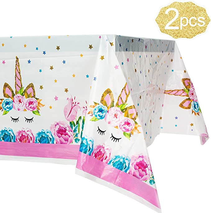 Amazon.com: Mantel de plástico de unicornio, pack de 2 ...
