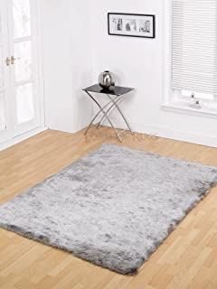 Lord of Rugs XLarge Soft Silky Luxuries Shaggy Rug in Silver 160 x 220 cm (
