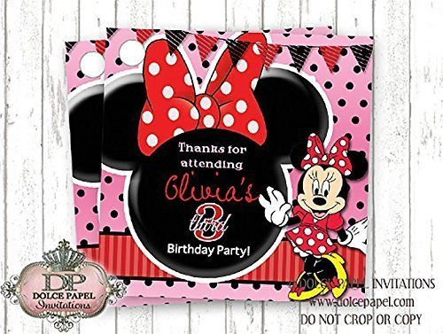 10 Red Black and Pink Minnie Mouse Ears Custom Birthday Party Favor Tags]()