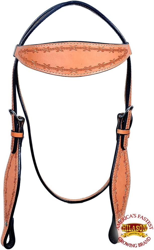 HILASON Western Horse Headstall Tack Bridle American Leather Barb Wire Tan