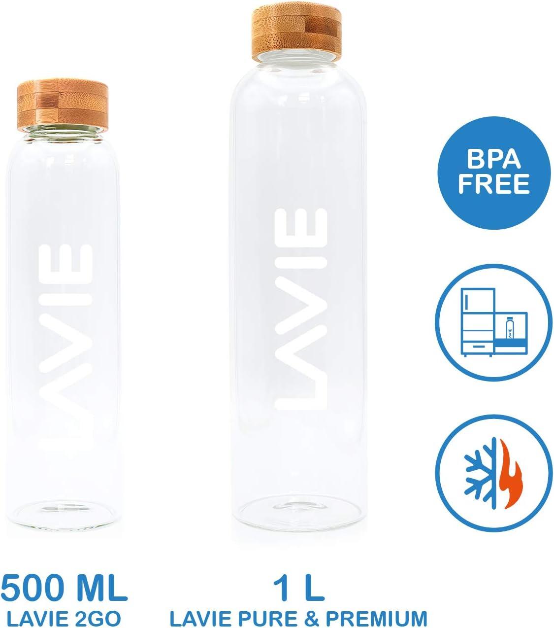 LaVie Botella de Vidrio de Borosilicato de 1 Litro para ...