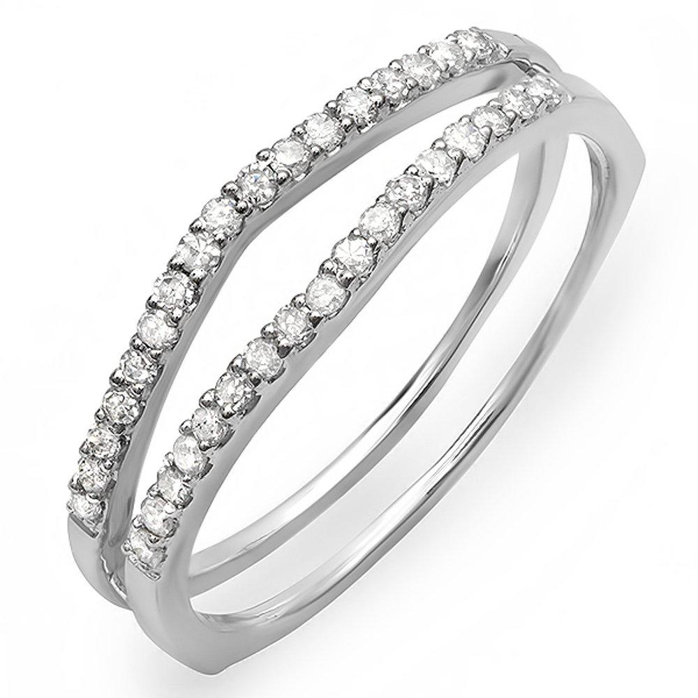 0.25 Carat (ctw) 10K White Gold White Diamond Enhancer Guard Wedding Band 1/4 CT (Size 5)