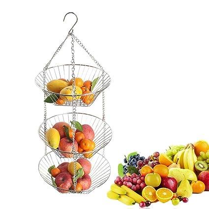 ustensiles de Cuisine et pour Fleurs Lumaland Corbeille /à Fruits Suspendue en 3 /étages Rangement pour Fruits l/égumes