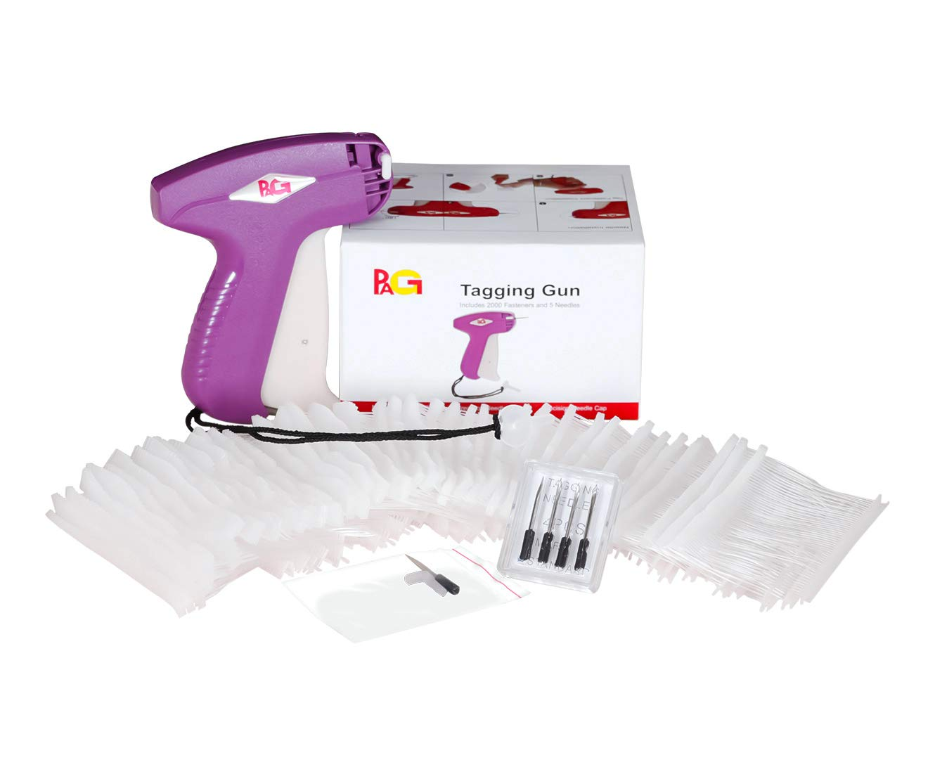 PAG XMS S13 Price Tag Standard Attacher Tagging Gun for Clothing with 5 Needles and 2000 Barbs Fasteners Purple