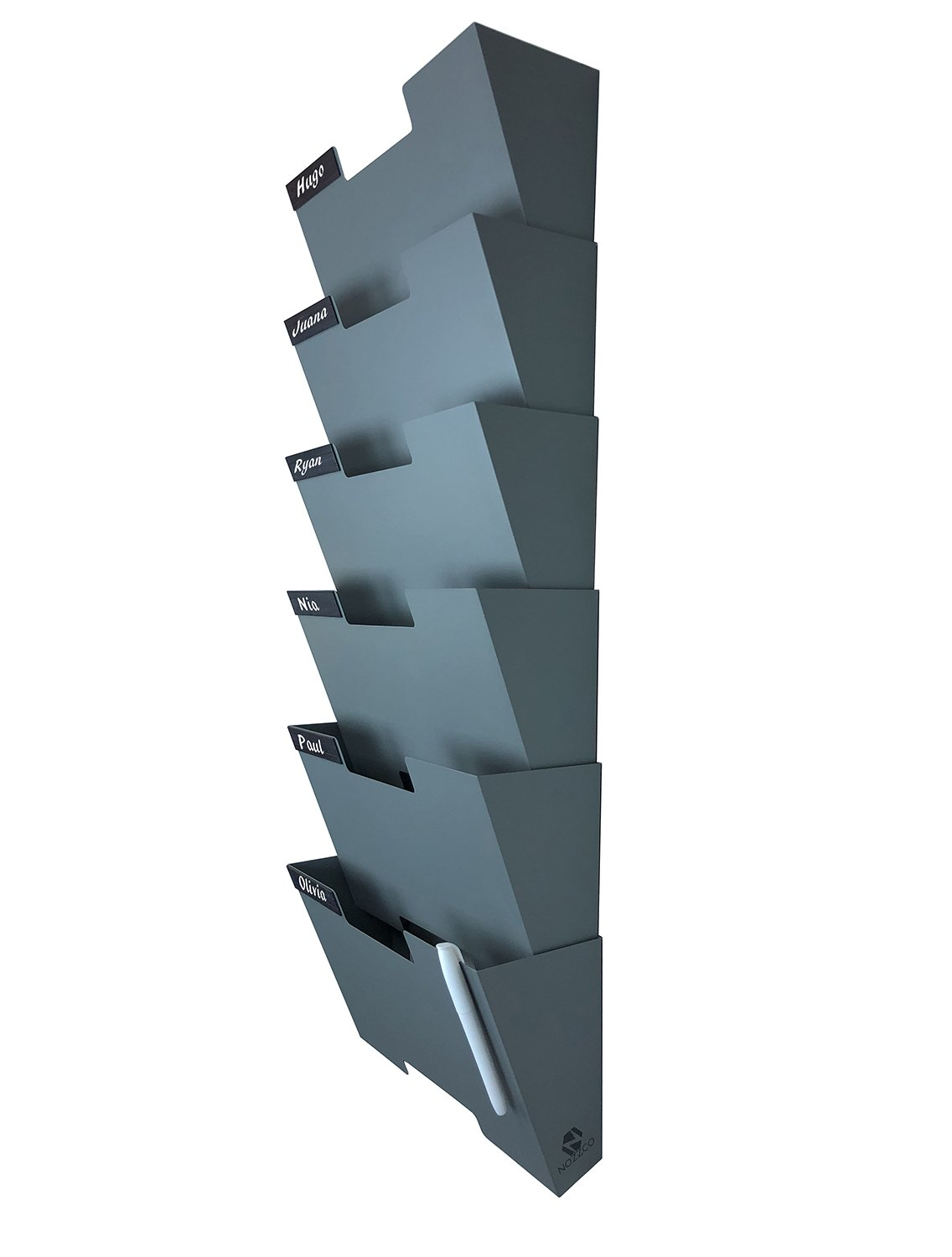 Gray Wall Mount Hanging File Holder Organizer 6 Pack | Durable Steel Rack, Solid, Sturdy & Wide | for Letters, Files, Magazines & More | Organize The Desktop, Declutter Your Office - Nozzco