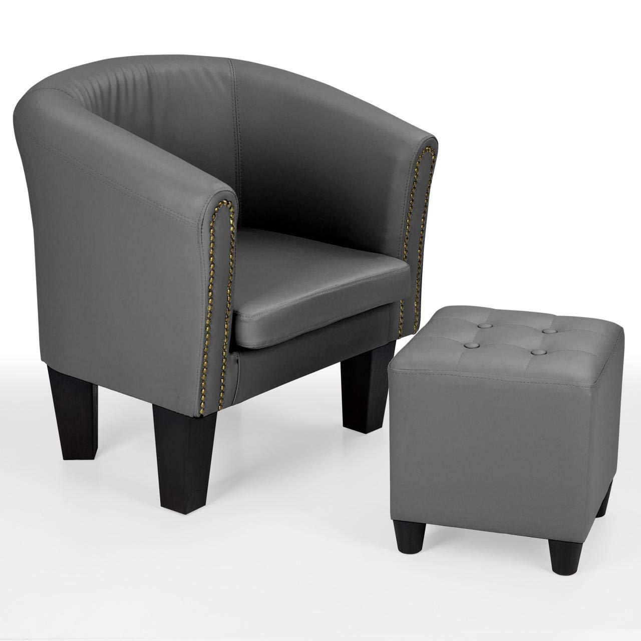 Homelux Sessel mit Fußhocker Chesterfield Club-Lounge-Stuhl Cocktailsessel mit Zier-Nieten (L x B x T) 70 x 69 x 60 cm GRAU