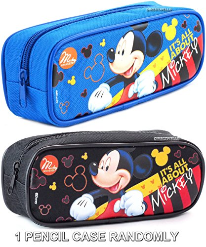 """Disney Mickey Mouse """" It's All About Mickey """" Blue or Black Pencil Case (Randomly)"""