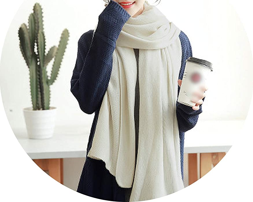 New fashion Korean version of the white student wool scarf winter knit solid color,14,onesize