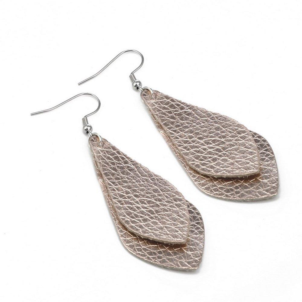 SEVENSTONE 4 Pcs Petal Leather Earrings Teardrop Leaf Drop Lightweight Antique Fashion Earrings by SEVENSTONE (Image #3)