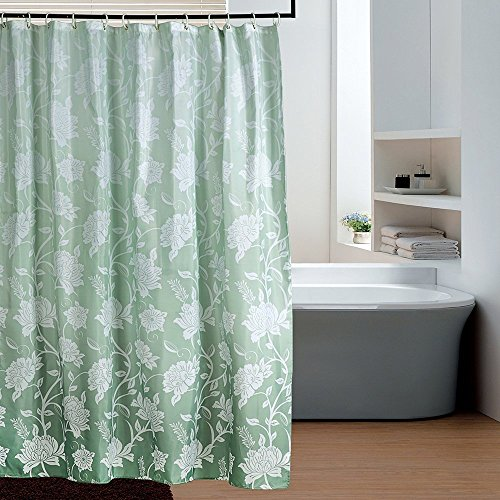 Eforgift Ombre Ivy Pattern Fabric Shower Curtain Polyester Waterproof Mildew Repellent Bathroom Curtains