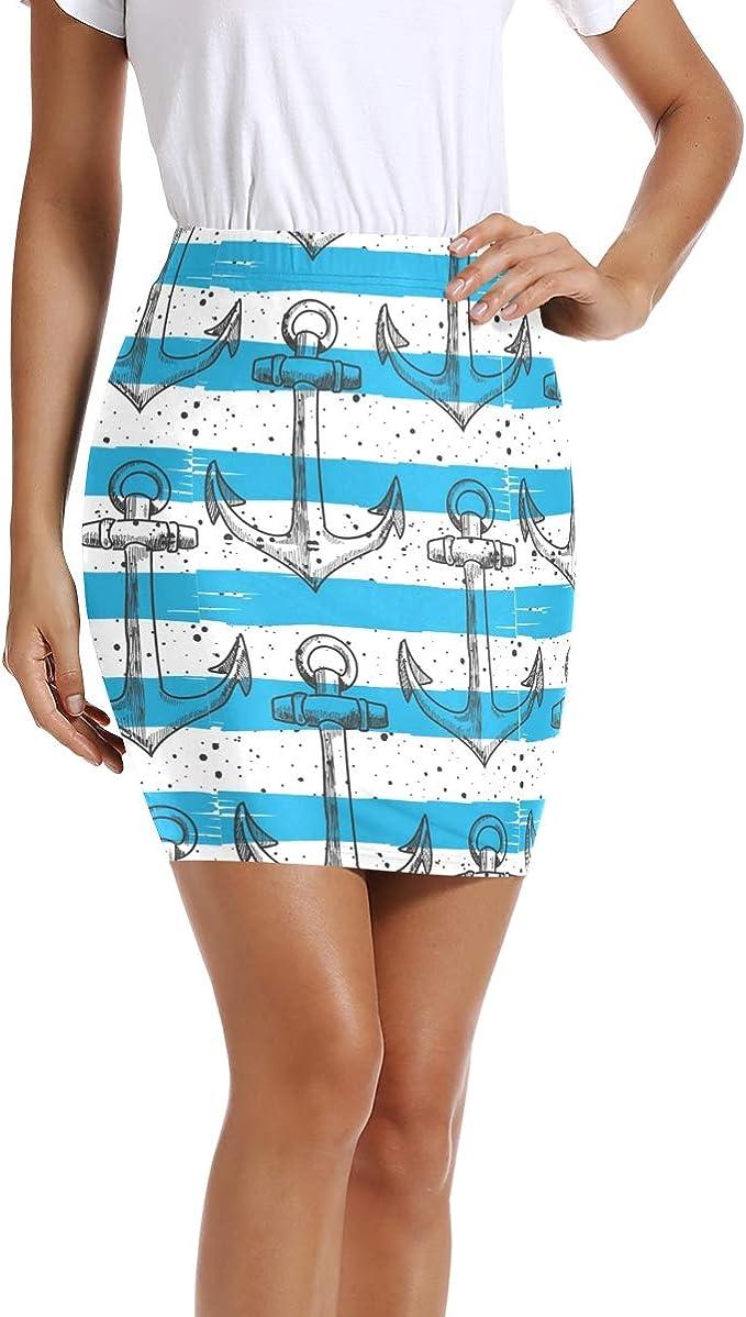 LUPINZ - Mini Falda elástica para Mujer con Anclajes de Color Azul ...