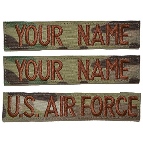 Multicam Name Tapes - Custom 3 Piece USAF OCP/Scorpion Name Tape with Hook Fastener
