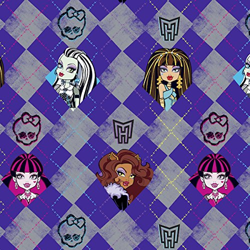 Monster High Argyle Anti-Pill Fleece Fabric By The Yard (Purple)
