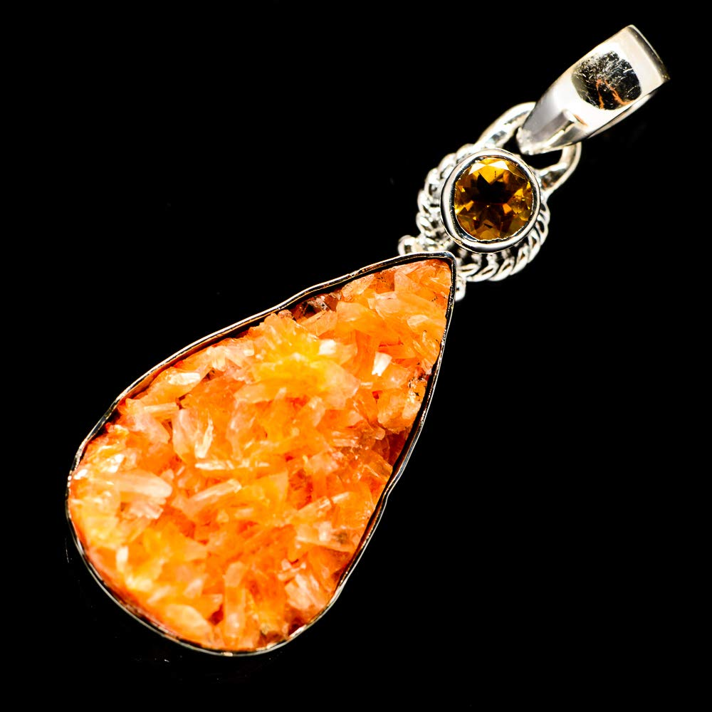 Vintage PD696858 925 Sterling Silver Citrine Pendant 2 1//4 - Handmade Jewelry Bohemian Ana Silver Co Orange Calcite Crystal