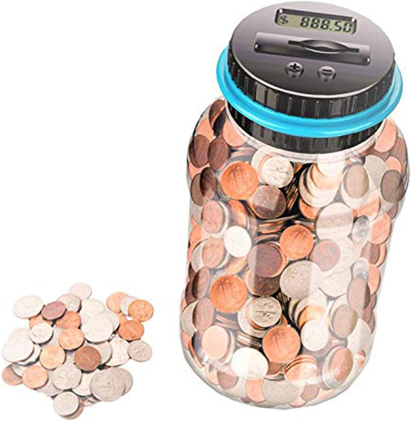 Amazon Com Digital Coin Bank Money Saving Jar Counter With Lcd 1 8l Large Piggy For Adults Kids Girls Boys As A Birthday Gift Kitchen Dining