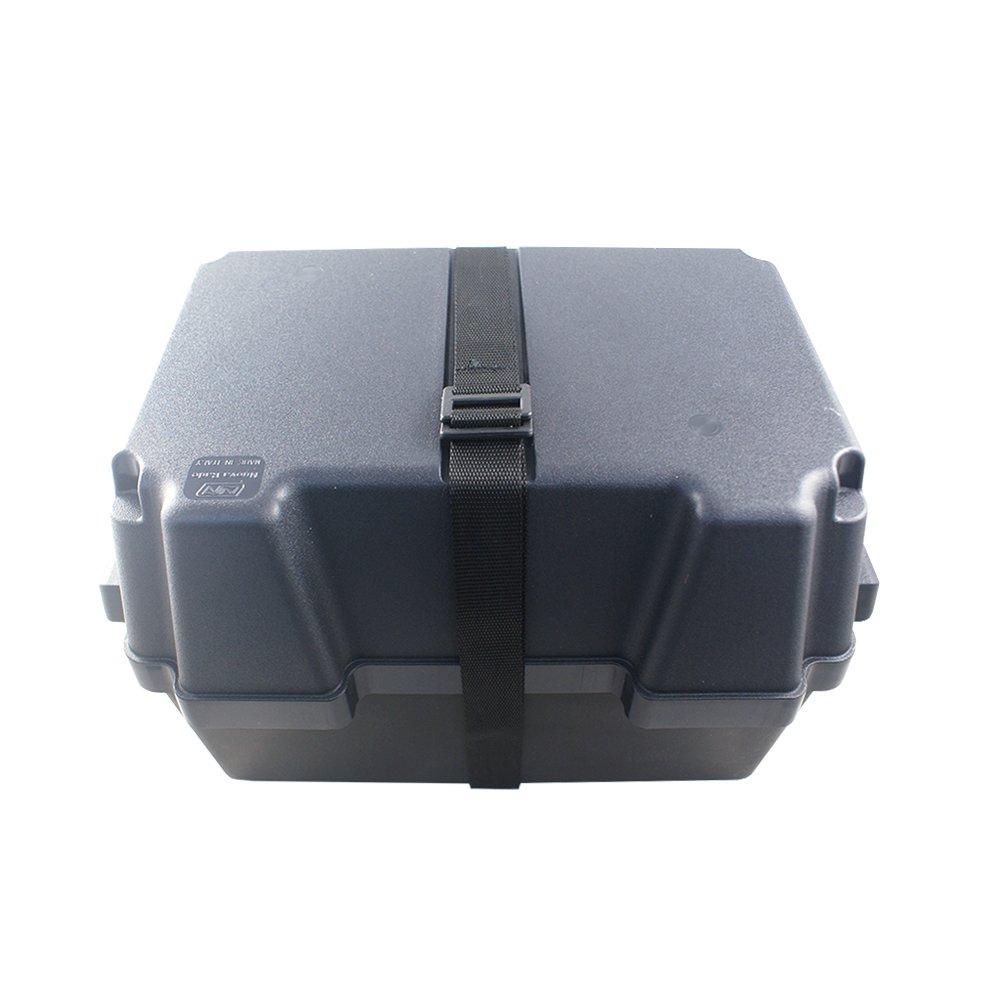 Batteriebox | Batteriekasten fü r AGM und GEL Batterien bis 100 Amperestunden | mit Gurt | aus schwarzem, sä urebestä ndigem und bruchfestem Kunstoff Nuova Rade .