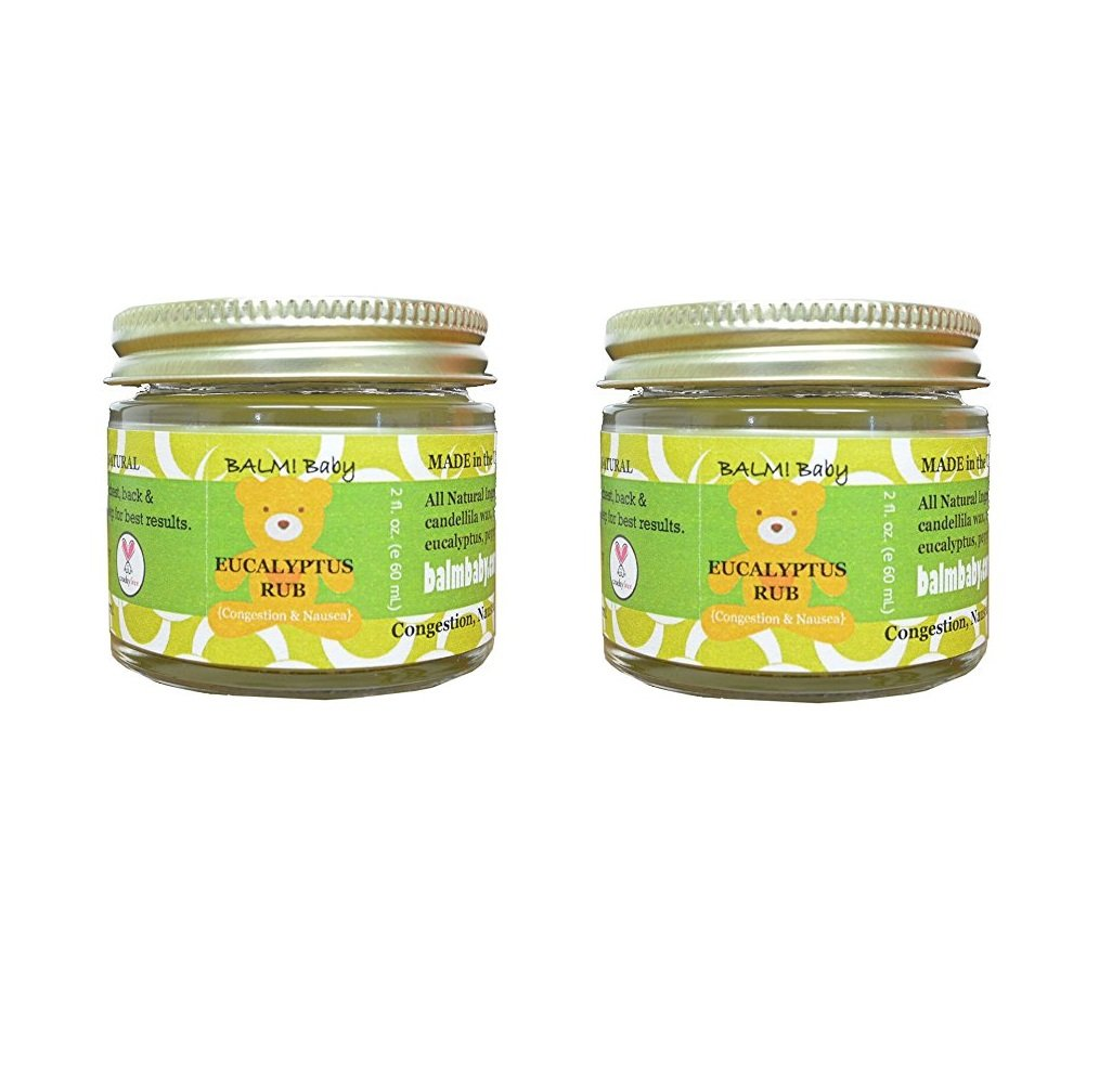 BALM! Baby EUCALYPTUS RUB - Natural Chest & Tummy Rub for Stuffy Noses & Chests and Nausea - 2 oz Glass Jar (Pack of 2) by BALM! Baby