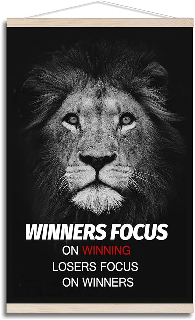 Motivational Hanging Poster Black White Painting Lion Portrait Pictures Canvas Print Winners Life Quotes Scroll Poster Wall Art for Home Office Decor, with Wood Frame Hanger, Ready to Hang 16
