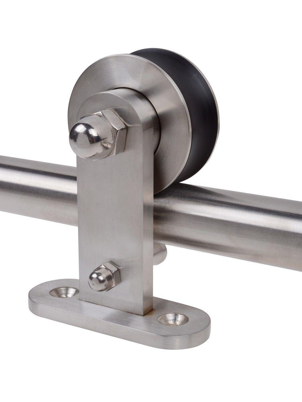 6.6 FT Stainless Steel Interior Sliding Barn Wood Door Hardware Set W/Handle
