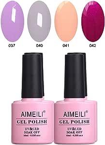 AIMEILI Soak Off UV LED Gel Nail Polish Multicolour/Mix Colour/Combo Colour Set Of 4pcs X 10ml - Kit Set 4