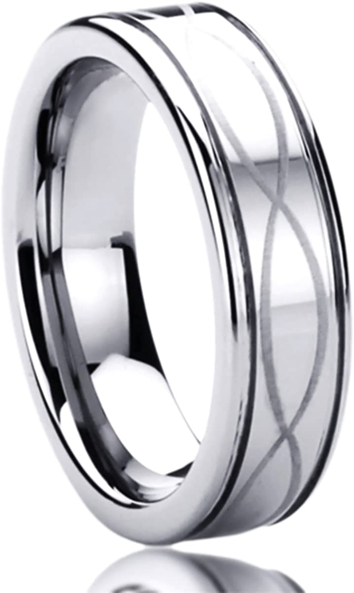 Titanium Wedding Band Ring for Men & Women Laser Etched Infinity Patterned Ring for Men & Woman