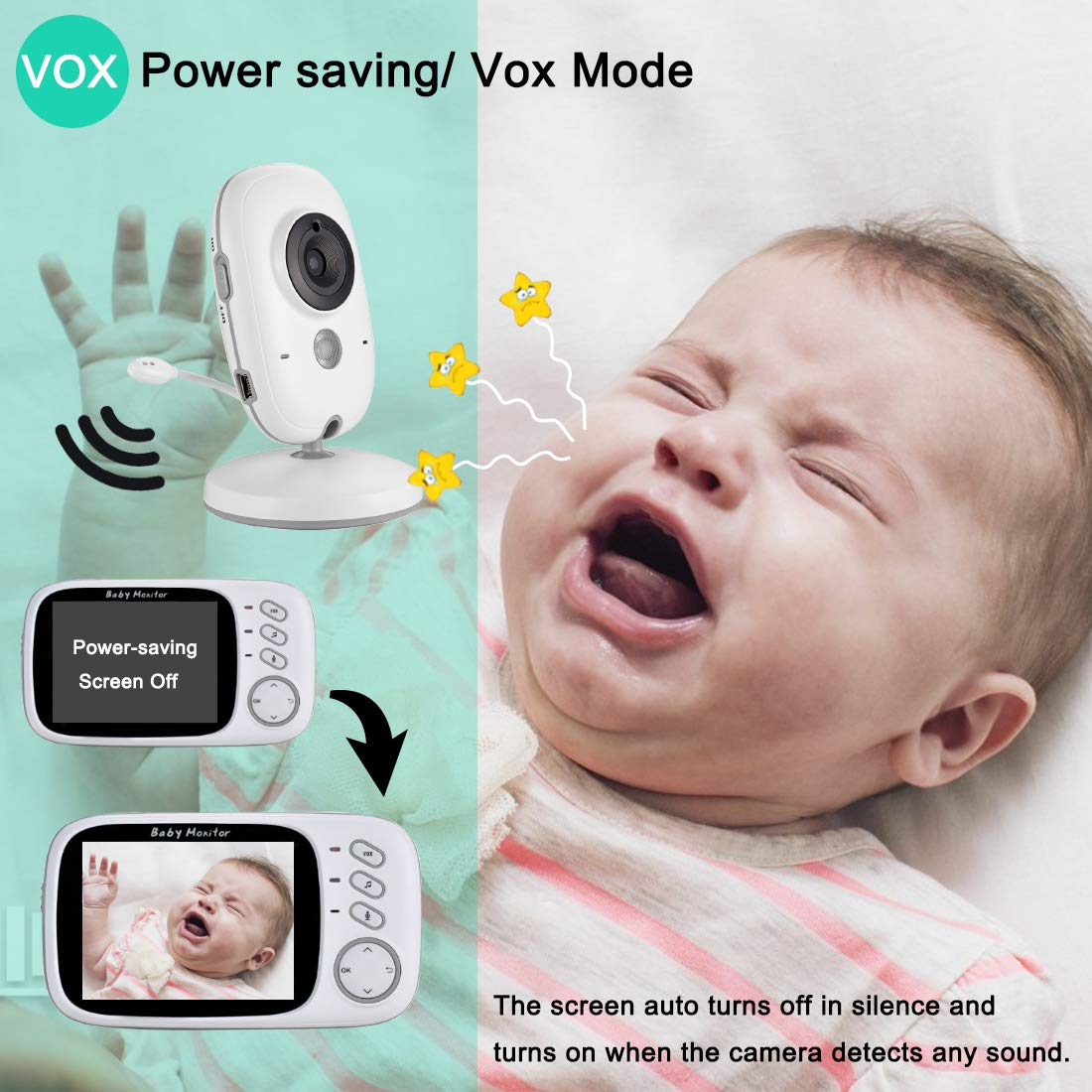 Baby Monitor with Camera 3.2\'\' LCD Baby Security Camera with 2PCS High Capacity Batteries,Magnet Holder,Two-Way Audio,960ft Range,Night Vision,Room Temperature,Lullabies for Baby,Nanny,Elderly,Pet