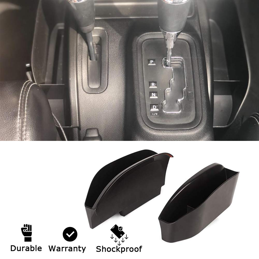 New Jeep Console Side Storage Box JK Console Organizer Side Pockets Tray Box for 2011-2017 Jeep Wrangler JK JKU 2 Doors 4 Doors Pack of 2 Center Console Organizer Tray Jeep Interior accessories