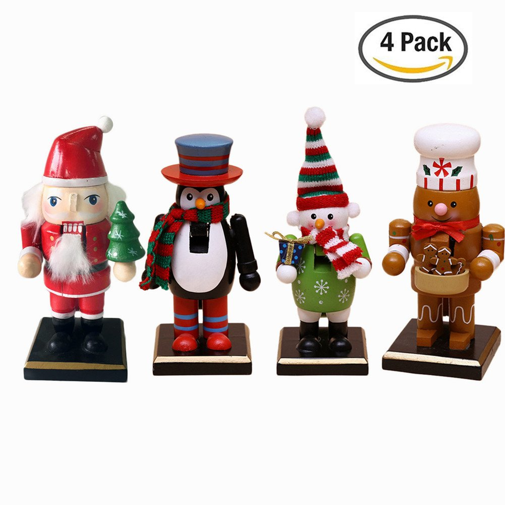O-Toys Wooden Nutcracker Ornaments Christmas Decoration Figures Puppet Toys Christmas Gifts Home Decor (6 Inch) (6'' Set)