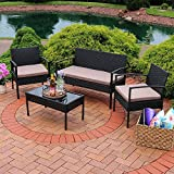 Sunnydaze Anadia 4-Piece Rattan Lounger Patio Furniture Set with Black Wicker and Taupe Cushions