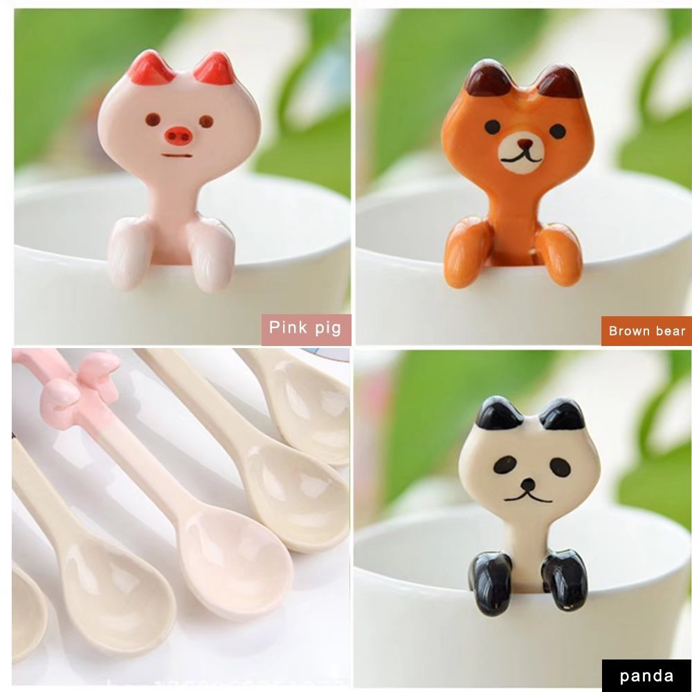 KateDy 3pcs Baby Ceramic Dessert Spoon Cute Animals Handle Tea Coffee Feeding Small Spoon,Can Be Hanging Cup Spoons,Perfect Gift for Boys Girls(Panda+Pink Pig+Bruins) by Katedy (Image #4)