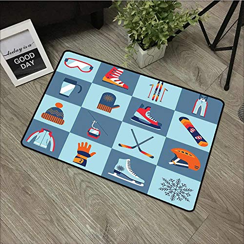 Fakgod Modern Doormat Sports Ice Skating Winter Sports Skiing Boot Cap Glasses Skates Snowboard with No-Slip Backing 31