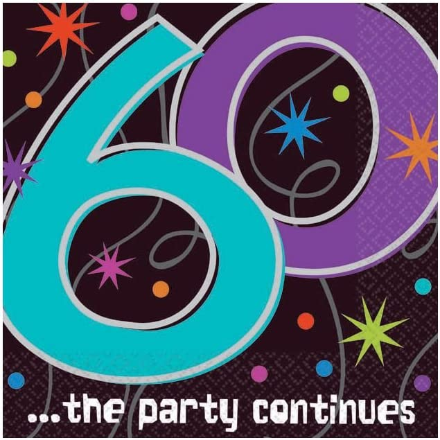 Amscan Continuous 60th Birthday Beverage Napkins Tableware Party Supplies, One Size, Multicolor