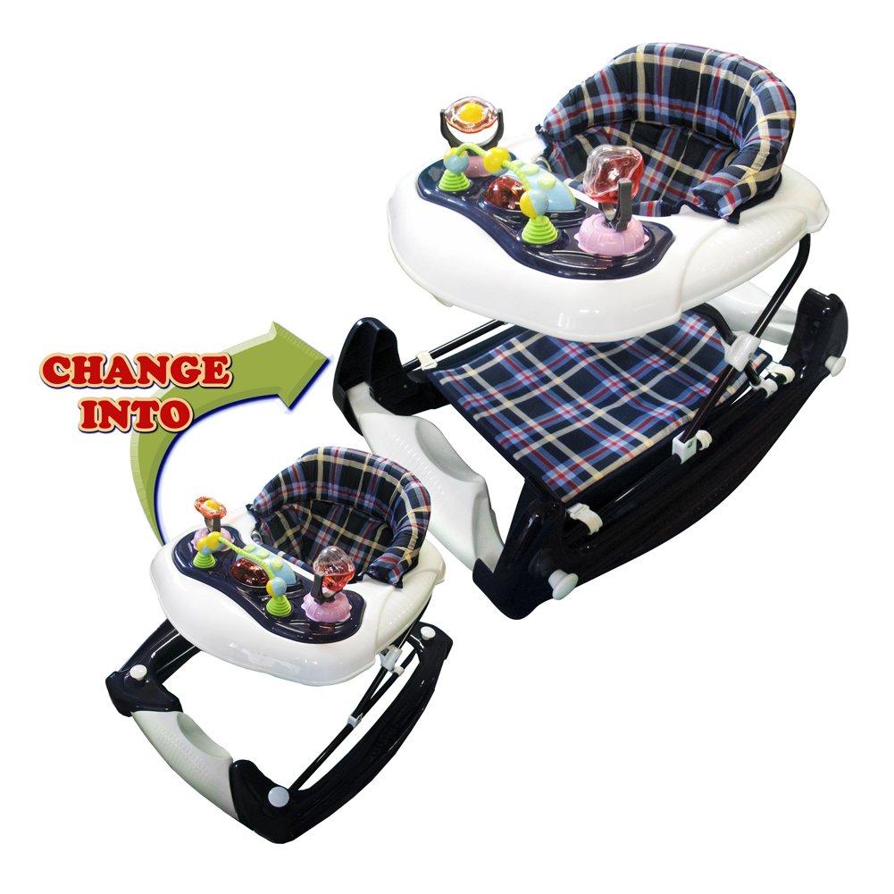 Big Oshi 3 in 1 Baby Walker, Rocker & Activity Center on Wheels - Convertible Walker to Rocker with Tray Table Baby Activity Center with Toys - Adjustable Seat, Boys - Plaid/Flannel
