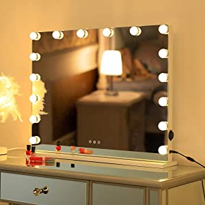 HOMPEN Lighted Makeup Mirror with LED Dimmable Lights, Touch Screen Control System, for Bedroom, Rest Room, Dressing Room and Living Room