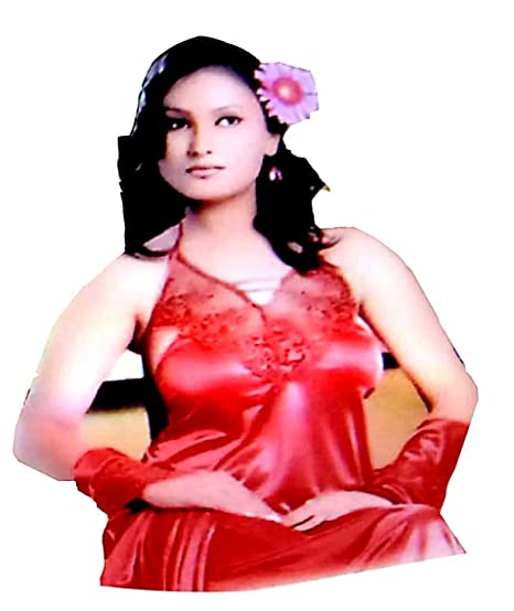Women s Satin Nightwear Set of 5 Pcs Nighty( Red ) 12e152053