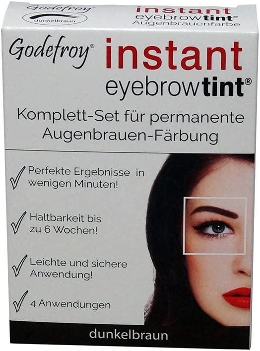 godef Roy Nuevo Cejas Color färbe Set Instant Eyebrow Tint, color marrón oscuro, 1er Pack (1 x 4 unidades)