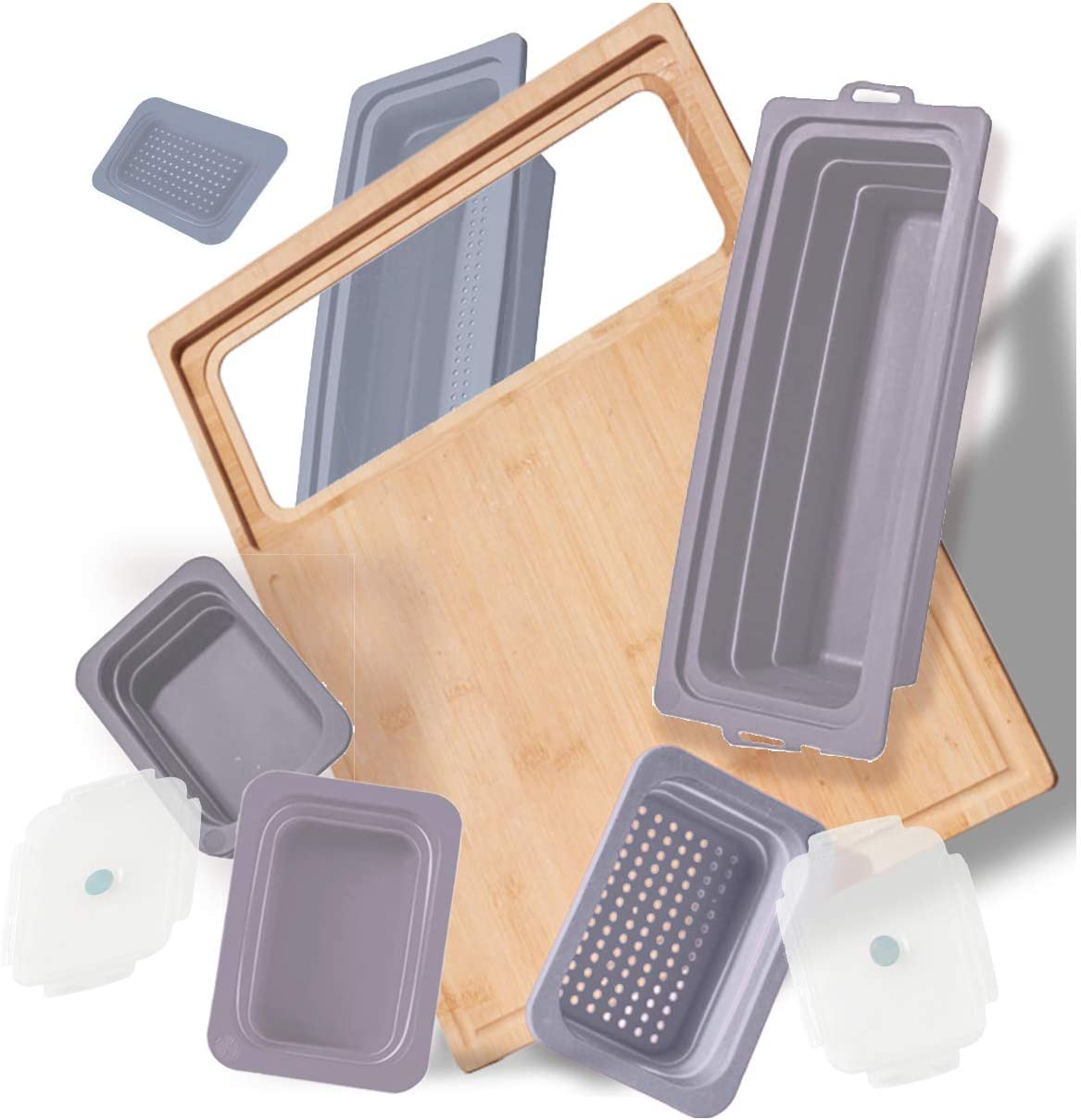 Soji ZenPrep Bamboo Cutting Board for Kitchen - Collapsible Silicone Food Storage Containers Trays (Steel)