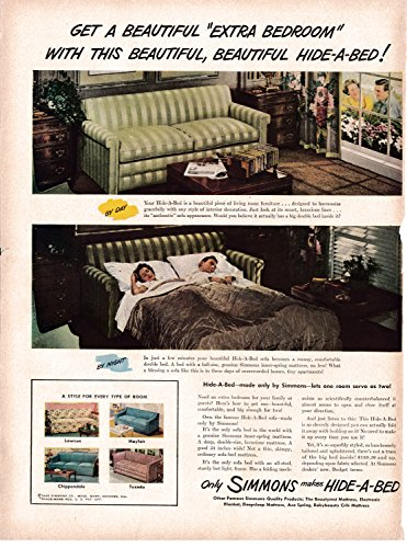1948 Simmons Hide-A-Bed Hide-Away Fold Up Sofa-Original 13.5