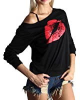 FAVOLOOK Women Sexy Lips Print Off One Shoulder Sleeve Pullover Casual Blouse