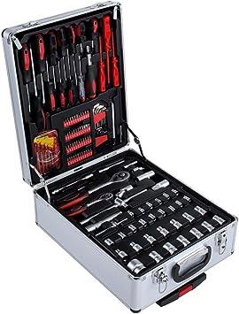 399 piezas caja de herramientas con ruedas, juego de herramientas para bricolaje, maletín de herramientas premium porta herramientas caja de aluminio con orificio Trolley: Amazon.es: Bricolaje y herramientas