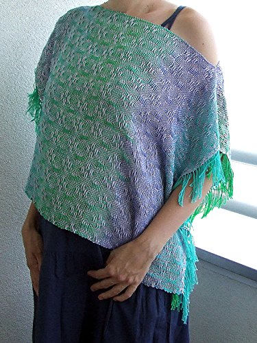 Handwoven ocean lavender poncho. Hand dyed cotton. One of a kind. by HandweavingbyMima
