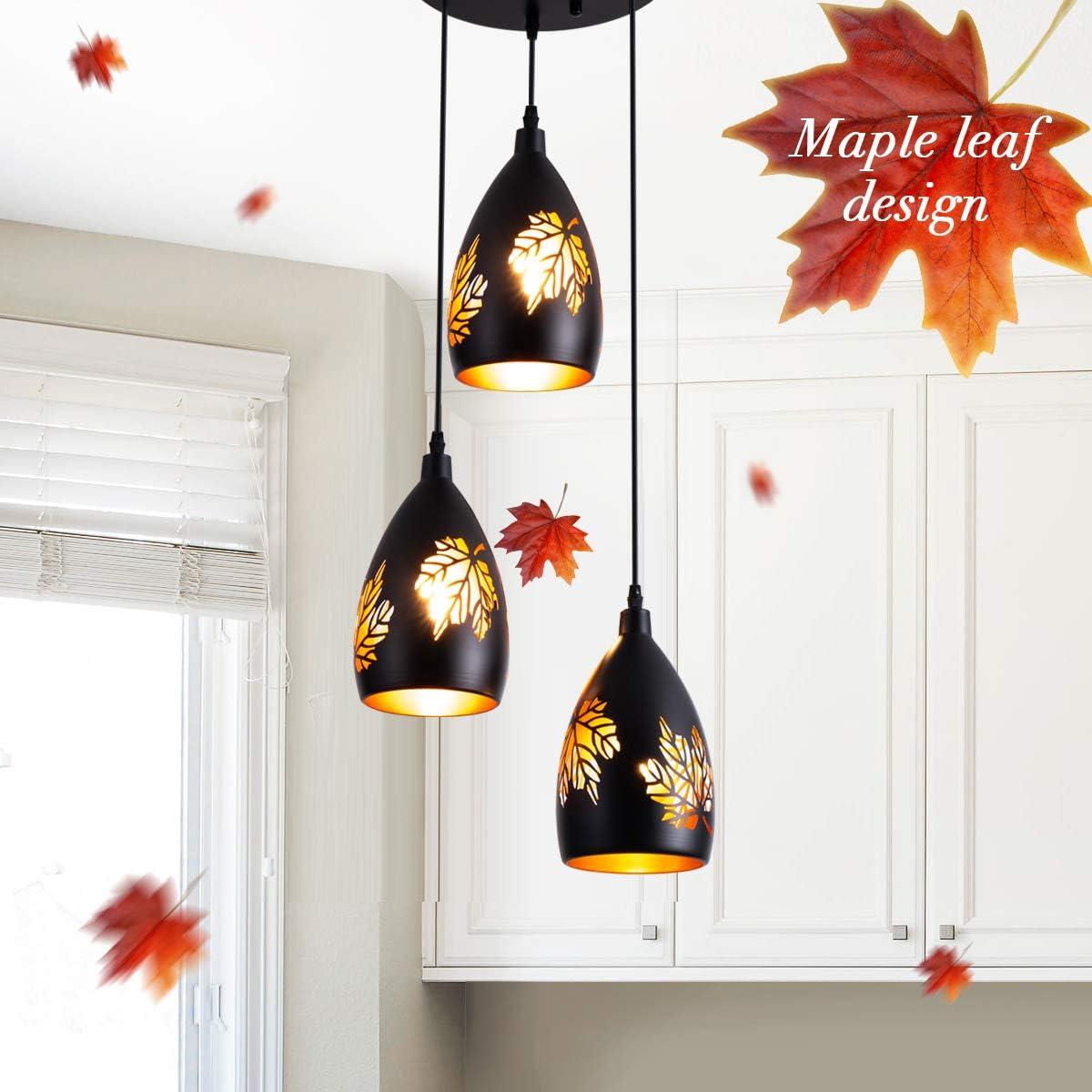 Weesalife 3 Light Pendant Vintage Adjustable Kitchen Lighting Fixture with Maple Leaves Pattern Carving Shade Black Hanging Industrial Pendant Lamp for Dining Room, Foyer, Loft, Hallway, Restaurant